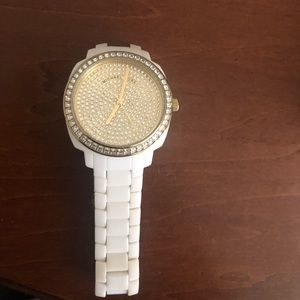 White ceramic gold crystal Michael Kors watch